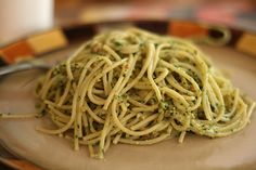 Pasta with Basil Pistachio Pesto /  A no-dairy version of Lydia's recipe, for the photo. For the original recipe: http://www.lidiasitaly.com/recipes/detail/1074
