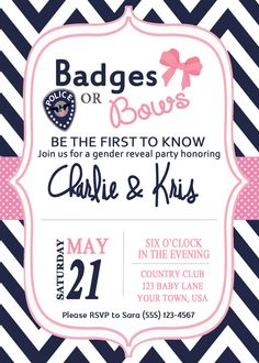 Badges or Bows Gender Reveal Party by fromKelliwithlove on Etsy