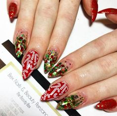 Show off your favorite Christmas candy on your nails! #inked #nails #holiday #christmas #sparkly #manicure #red #season #spirit