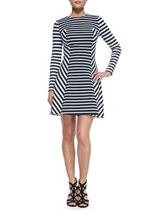 Lobamba Mix-Striped Flare Dress by MICHAEL Michael Kors at Neiman Marcus. NWSD