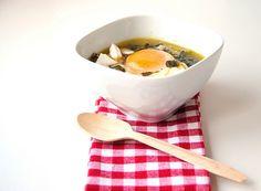 Sopa de beldroegas e de alho francês