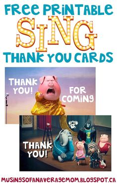 Free printable sing movie thank you cards
