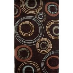 5x8 1inthick Brown Circle Rug - Overstock $140
