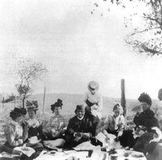 Swami Vivekananda south_pasadena-1900-picnic Picnic, South Pasadena, California, 1900  Seaeted L-r: ? , ? , Mrs. Bruce, Swami Vivekananda, Alice Hansbrough, ?  Standing: Carrie Wyckoff.