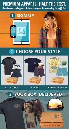 e5376a3b887 Get next months Surf Shop Box. No lines