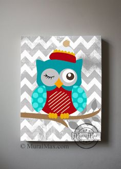 Boy's wall art  OWL canvas art Baby Nursery Owl Decor door MuralMAX, $51.00