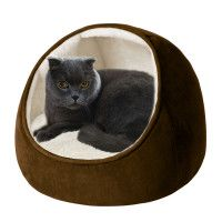 This Faux Suede Hooded Snuggler Cat Bed would fit nicely in any apartment (In or out of sight!)