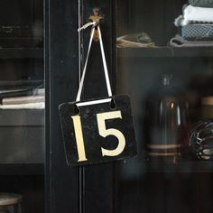 Vintage enamel sign with number 15 by GiantPigeonVintage on Etsy