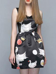 Black V-neck Dress With Swan Pattern Cheap Dresses, Women's Dresses, Short Mini Dress, Summer Dresses For Women, V Neck Dress, Clothes For Women, Lady, Swan Song, Pattern
