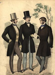9. [Frock Overcoat] {This fashion plate shows an example of the morning coat and two examples of the frock overcoat.} The frock overcoat was cut along the lines of the frock coat, but longer.