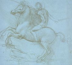 Da Vinci: A Rider and Horse Trampling a Fallen Foe (1488-92). Study for the Sforza monument. The Royal Library, Windsor Castle.
