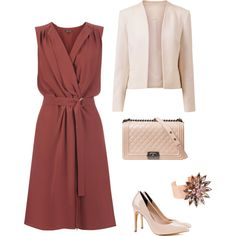 Perfect for ladies with a warm complexion, this outfit suits Lily or Vase (top heavy) shapes: a large bust, defined shoulders, a gently curved waist, slim hips and thighs. A deep V-neck flatters larger busts, whilst providing support. The tie belt defines your waist, while the softly draped skirt hides any tummy wobbles and creates curve around your hips and thighs to balance your shape without adding bulk. The cropped jacket helped to define your figure and nude shoes lengthen your legs