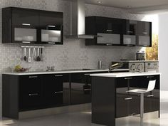 New bathroom contemporary black cabinets Ideas Kitchen Modular, Modern Kitchen Cabinets, Smart Kitchen, Kitchen Sets, Home Interior, Kitchen Interior, Interior Design Living Room, Kitchen Decor, Kitchen Cupboard Designs