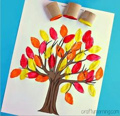 Autumn tree painting with cardboard tubes