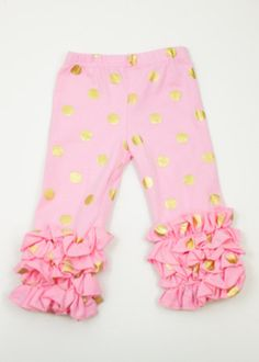 76200727592d Pink Gold Polka Dot Ruffled Pants (7y only!)