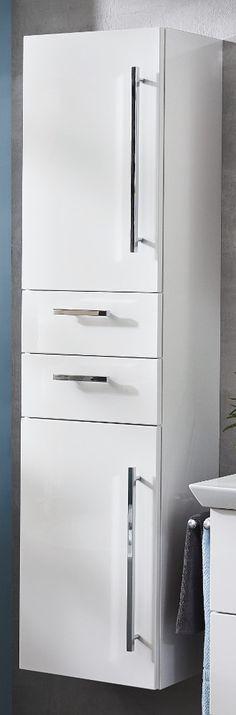 Kesper Siena Midischrank 1T, Weiß / Alu-Optik | Badmöbel | Pinterest