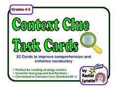 Context Clues Task Cards: 32 Cards for Grades 4-5 - Rachel Lynette - TeachersPayTeachers.com