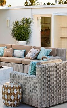 Hyde Park. Deep seating. Crisp lines. Rich texture. It's almost its own lifestyle. | Frontgate: Live Beautifully Outdoors