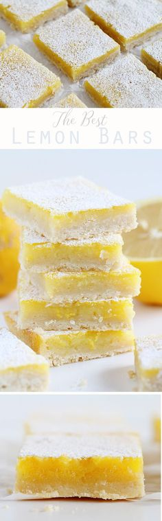 Slightly Tart (as a lemon bar should be!) and gloriously sweet! Recipe for the best lemon bars. Lemon Desserts, Lemon Recipes, Fudge Recipes, Just Desserts, Baking Recipes, Sweet Recipes, Cookie Recipes, Delicious Desserts, Dessert Recipes