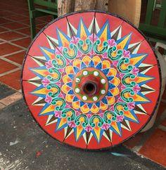 Decorative ox cart wheel