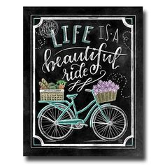 Bicycle Art Bicycle Print Spring Decor Life Is A Beautiful - Chalk Art İdeas in 2019 Summer Chalkboard, Chalkboard Print, Chalkboard Decor, Chalk Wall, Chalk Board, Art Decor, Decoration, Bicycle Print, Sidewalk Chalk Art