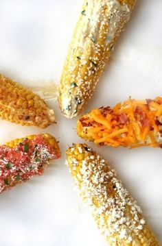 5 Ideas For Grilled Corn, Easy Summer Side!  Read more: 5 Grilled Corn Recipes - Ideas for Summer Grilled Corn - Good Housekeeping Follow us: @Debbie Arruda Arruda Arruda Brookshire Goodner Housekeeping Magazine on Twitter | GOODHOUSEKEEPING on Facebook Visit us at GoodHouseKeeping.com