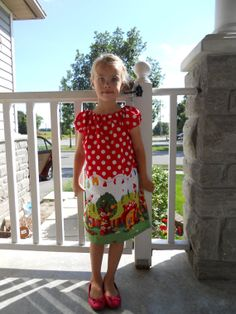 Gnomeville Peasant Dress Short Sleeves for a Little by babygraybee, $30.00