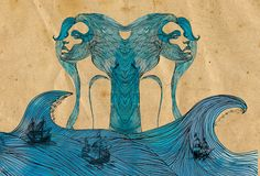 Girls of the Sea Illustration Art Recycled by AdriannesDesigns, $65.00