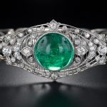 Edwardian Cabochon Emerald And Diamond Bracelet   c. Beginning Of The 20th Century