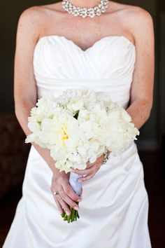 Loved my wedding bouquet - white peonies and hydrangea