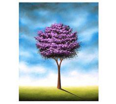 Whimsical Art Photo Print of Lavender Tree Painting by BingArt