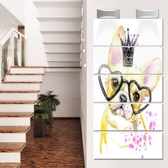Designart 'Funny Dog with Glasses' Contemporary Animal Glossy Metal Wall Art