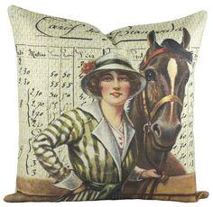 Horse Derby Cotton Throw Pillow