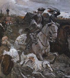 Valentin Serov, Peter II and Princess Elizabeth Petrovna Riding to Hounds, 1900