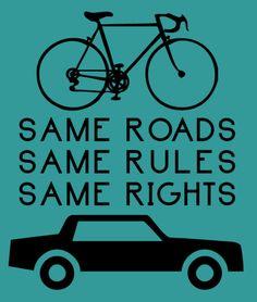 In portuguese... (bike and car)  Mesmos caminhos  Mesmas regras  Mesmos direitos