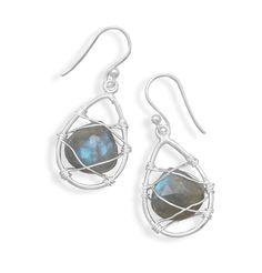 Wire Wrap Labradorite Earrings