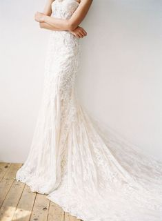 Loving the draping weightless fabric of this bridal gown by designer Hannah Kong. The dainty lace gives it that extra touch. Bridal Gowns, Wedding Gowns, Sophisticated Style, Elegant, Classy Gowns, Whimsical Fashion, Lace Patterns, Draping, On Your Wedding Day