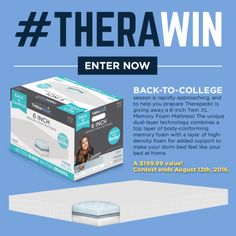"""#TheraWin: 6"""" Twin XL Memory Foam Mattress for... sweepstakes IFTTT reddit giveaways freebies contests"""