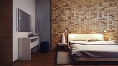 Inspirations Wooden Panel Wall Bedroom Design For Decorations Modern Wood Block Feature Wall