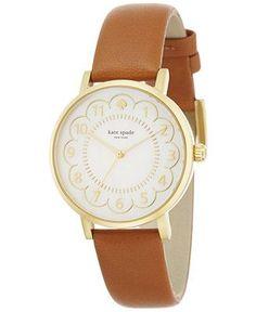 kate spade new york Women's Metro Luggage Leather Strap Watch 34mm 1YRU0835 - Watches - Jewelry & Watches - Macy's