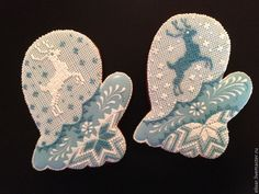 Blue needlepoint mittens