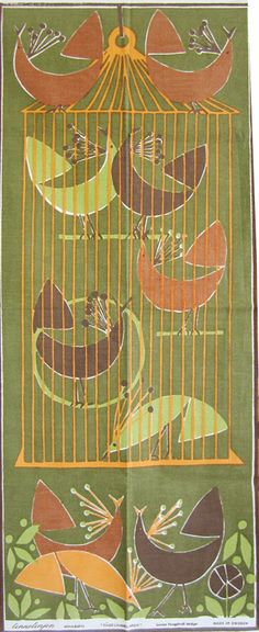 mid century Swedish tea towel