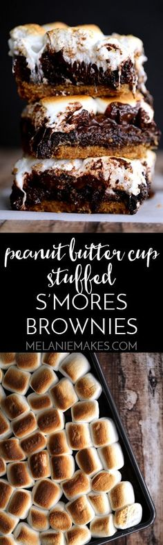 There's no campfire needed for these Peanut Butter Cup Stuffed S'mores Brownies! A thick graham cracker crust base is topped with a rich, chocolate brownie batter, peanut butter cups, dark chocolate candy bar large jet-puffed marshmallows. Decadent and delicious!: