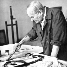 Joan Miró painting another masterpiece. Famous Artists, Great Artists, Tomie Ohtake, Seattle Art Museum, Spanish Painters, Exhibition Poster, Belle Photo, Art Studios, Artist At Work