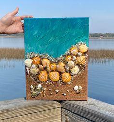 Read the full title Beach Canvas Art/3D Beach Wall Art/Resin Art/Mixed Media Beach Art/Coastal Seashell Art/Abstract Beach Seascape/One-of-a-Kind Gift
