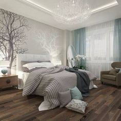 Love this. Grey bedroom.