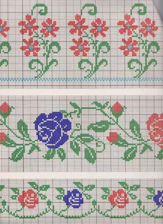 This Pin was discovered by Yur Cross Stitch Borders, Cross Stitch Flowers, Counted Cross Stitch Patterns, Cross Stitch Designs, Cross Stitching, Cross Stitch Embroidery, Hand Embroidery, Bordado Tipo Chicken Scratch, Tapestry Crochet