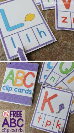 Free ABC clip cards are a multi-sensory and engaging way to practice alphabet, letter recognition and letter sound Preschool Letters, Learning Letters, Kindergarten Literacy, Letter Recognition Kindergarten, Preschool Science, Science Classroom, Alphabet Activities, Preschool Learning Centers, Infant Activities