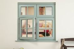 An open Everest uPVC Casement window, in a Chartwell Green colour Green Windows, Casement Windows, Windows And Doors, Porch Doors, Minimalist Window, Minimalist House, House Window Design, Craftsman Windows, House Makeovers