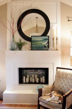 what to put in empty space over fireplace - Google Search